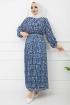 Piliseli Şifon Elbise - İndigo