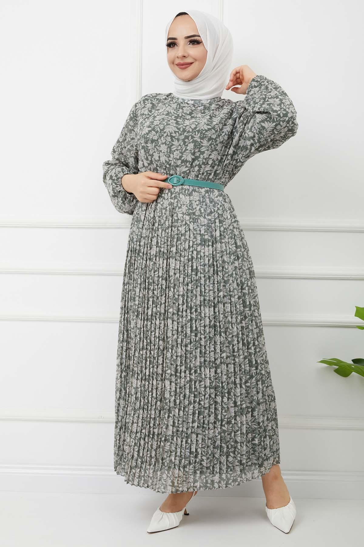Piliseli Şifon Elbise - Çağla