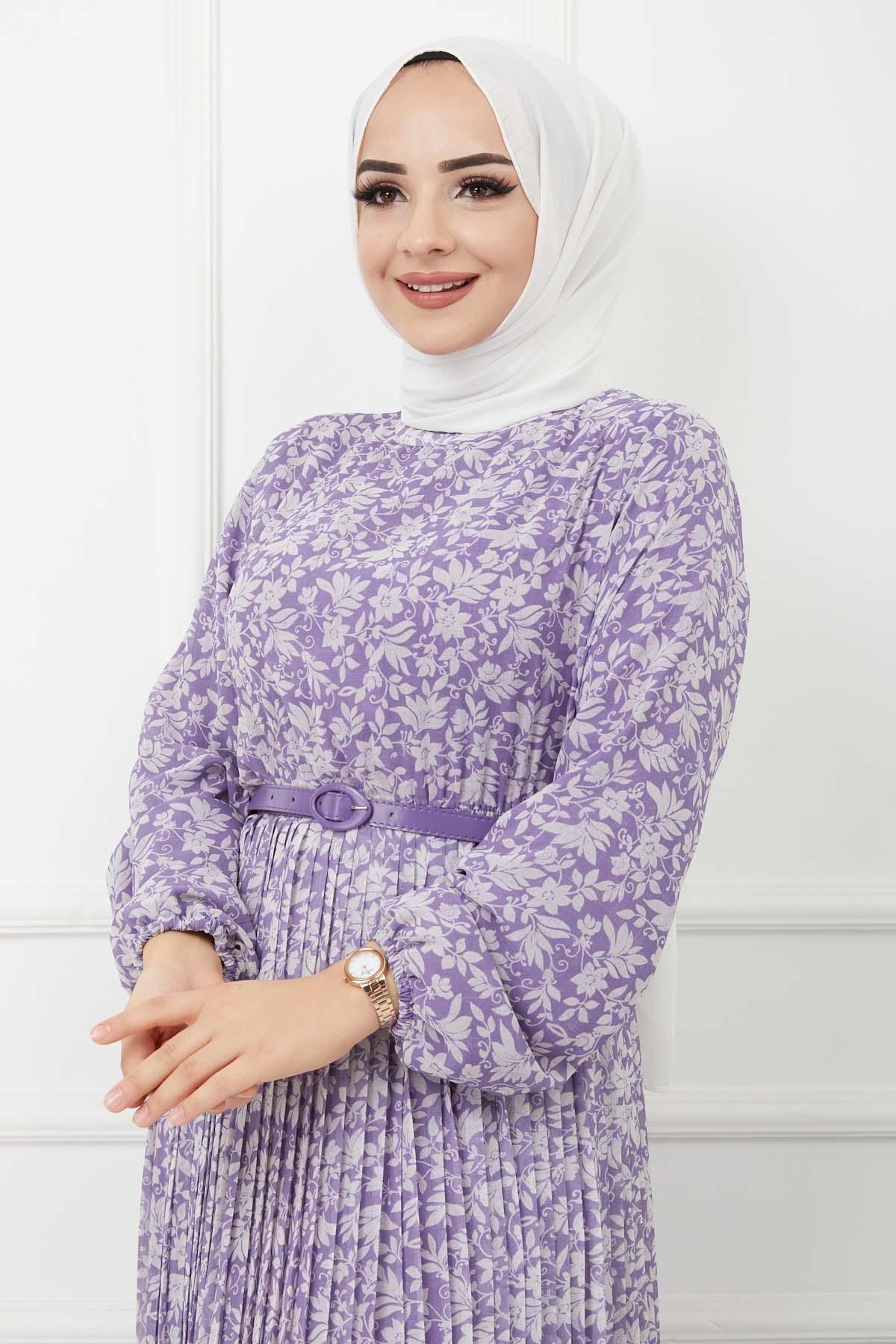 Piliseli Şifon Elbise - Lila