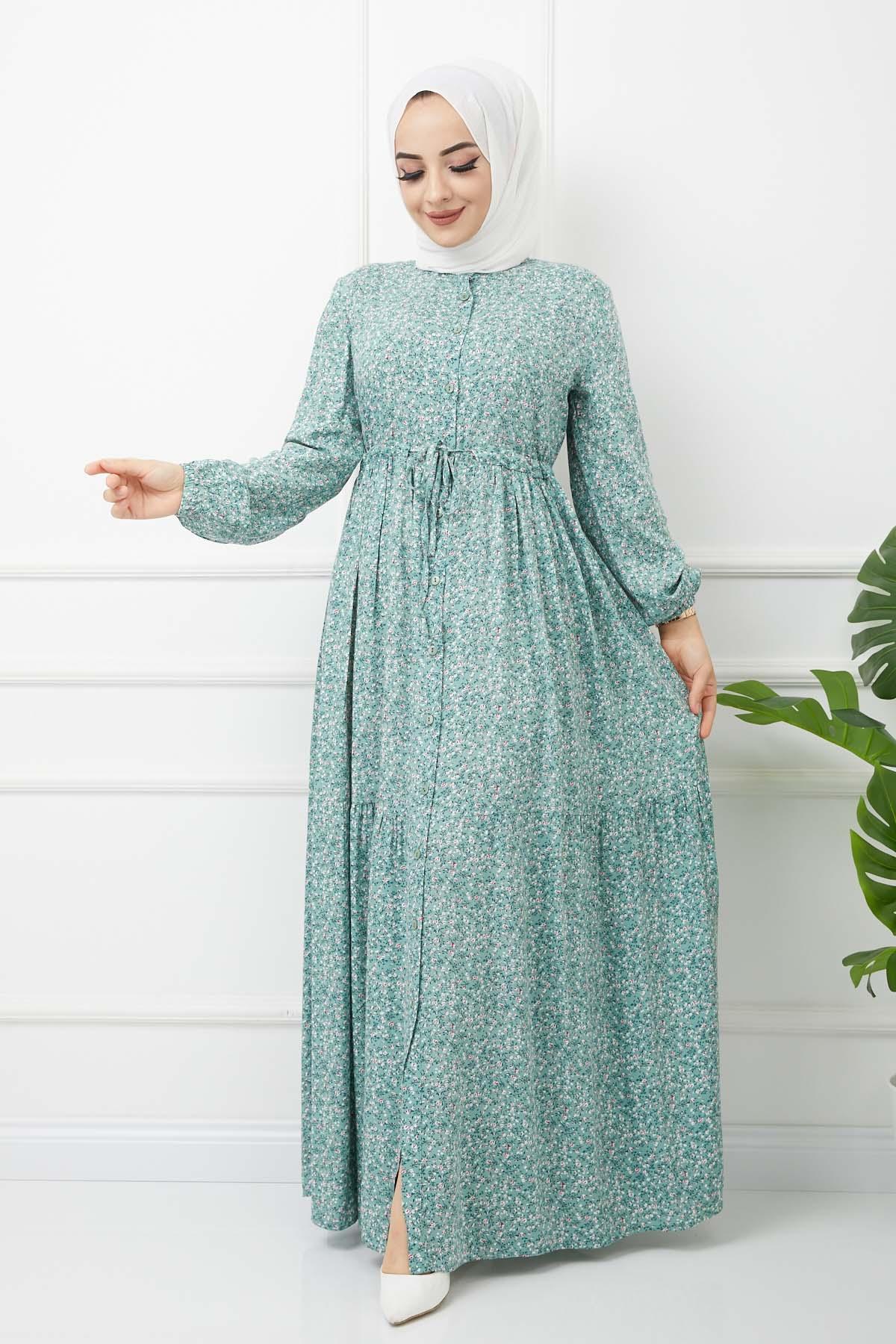 Çiçekli Viskon Elbise - Yeşil