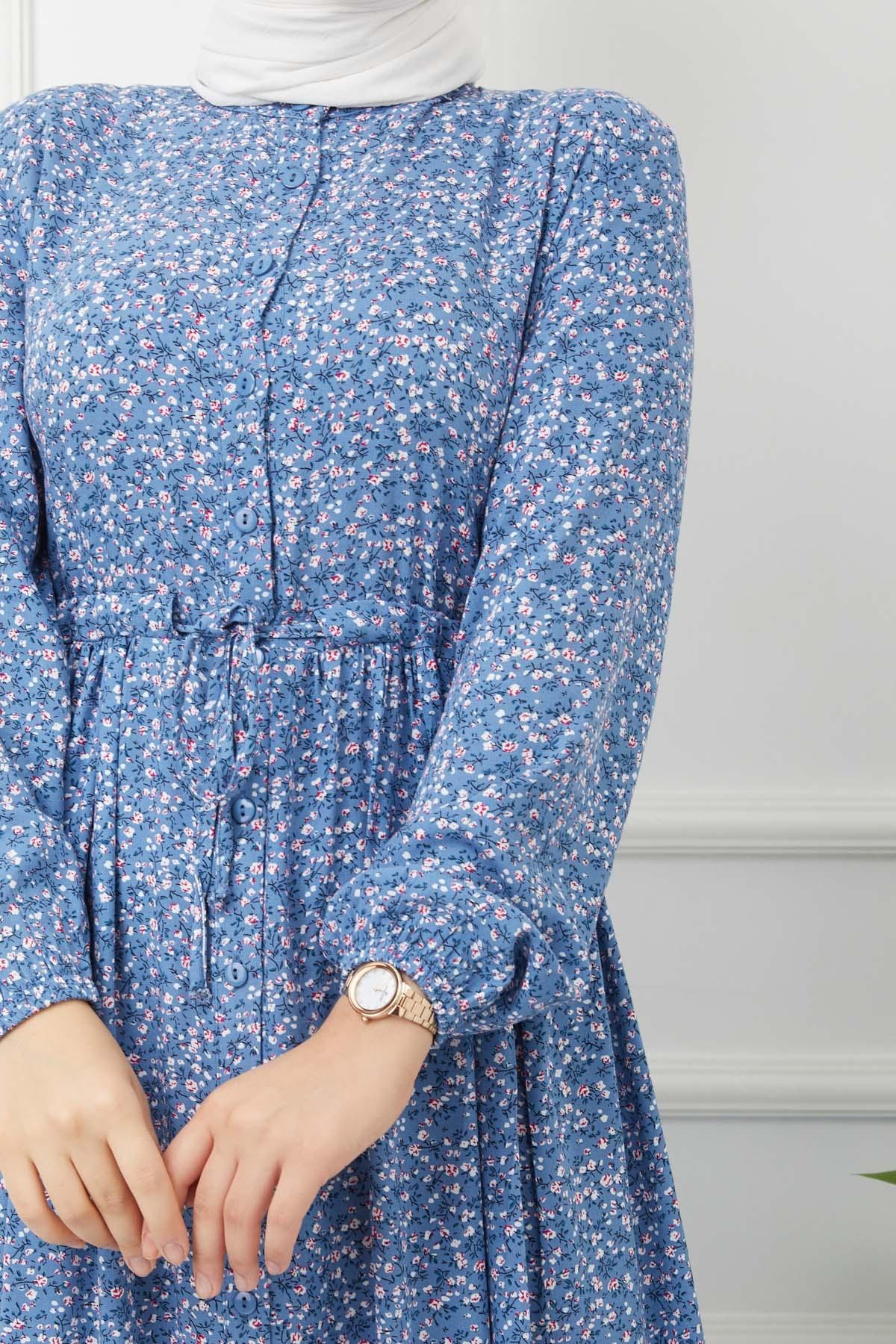 Çiçekli Viskon Elbise - İndigo