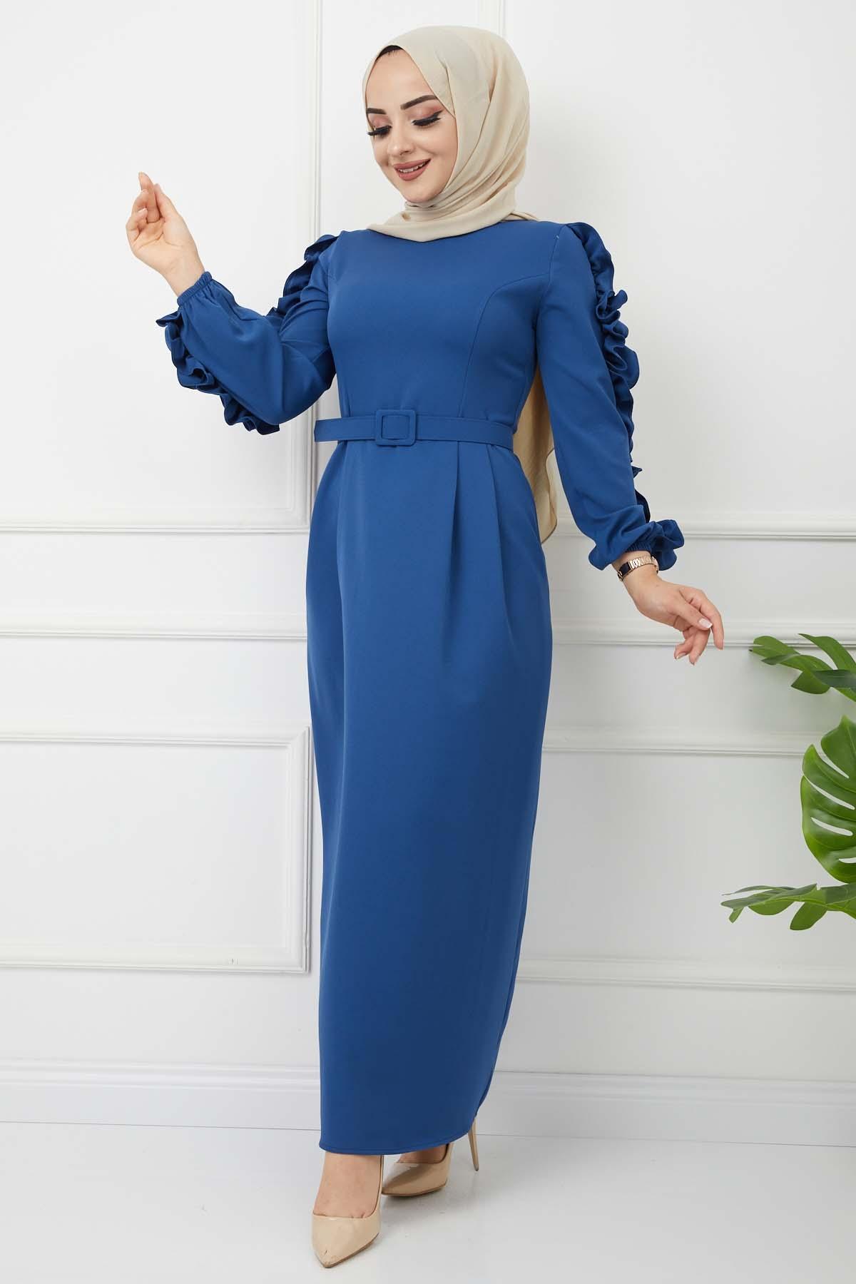 Kolu Fırfırlı Kalem Elbise - Mavi