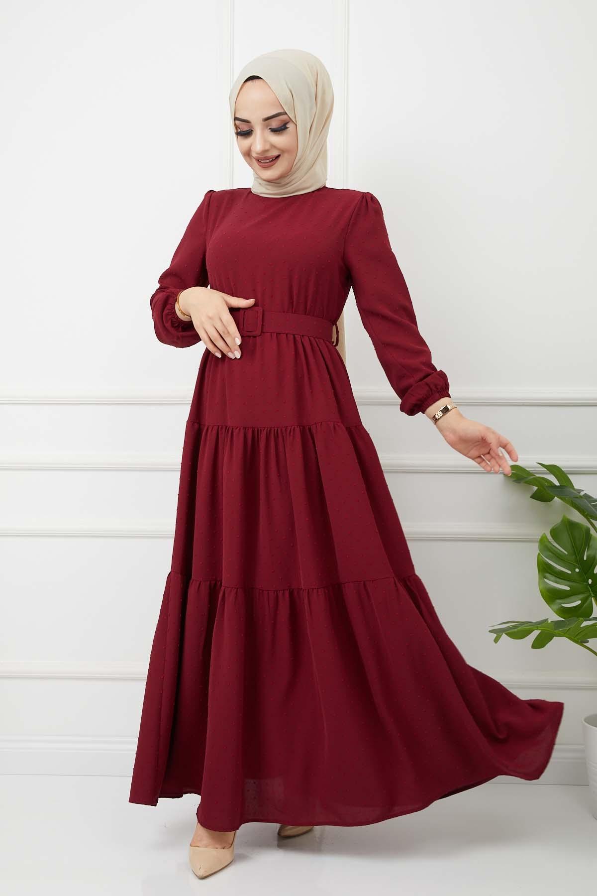 Kemer Detaylı Ponpon İşlemeli Elbise - Bordo