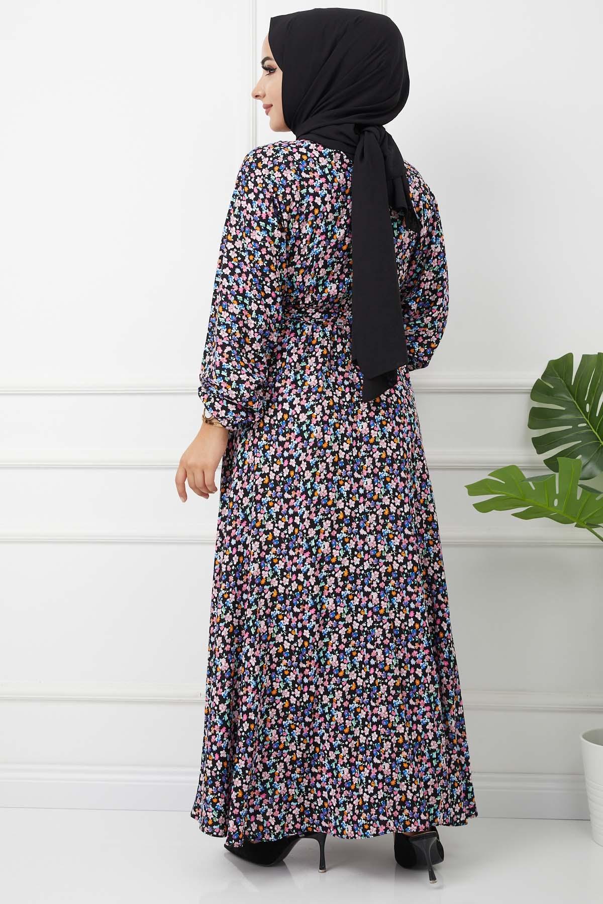 Azra Viskon Elbise 4627 - Siyah