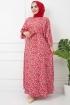 Azra Viskon Elbise 4627 - Kırmızı