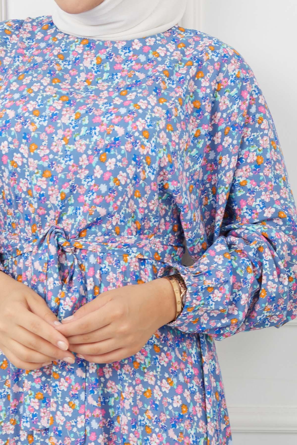 Azra Viskon Elbise 4627 - Acık Mavi
