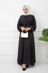 Ayrobin Saten Elbise - Siyah