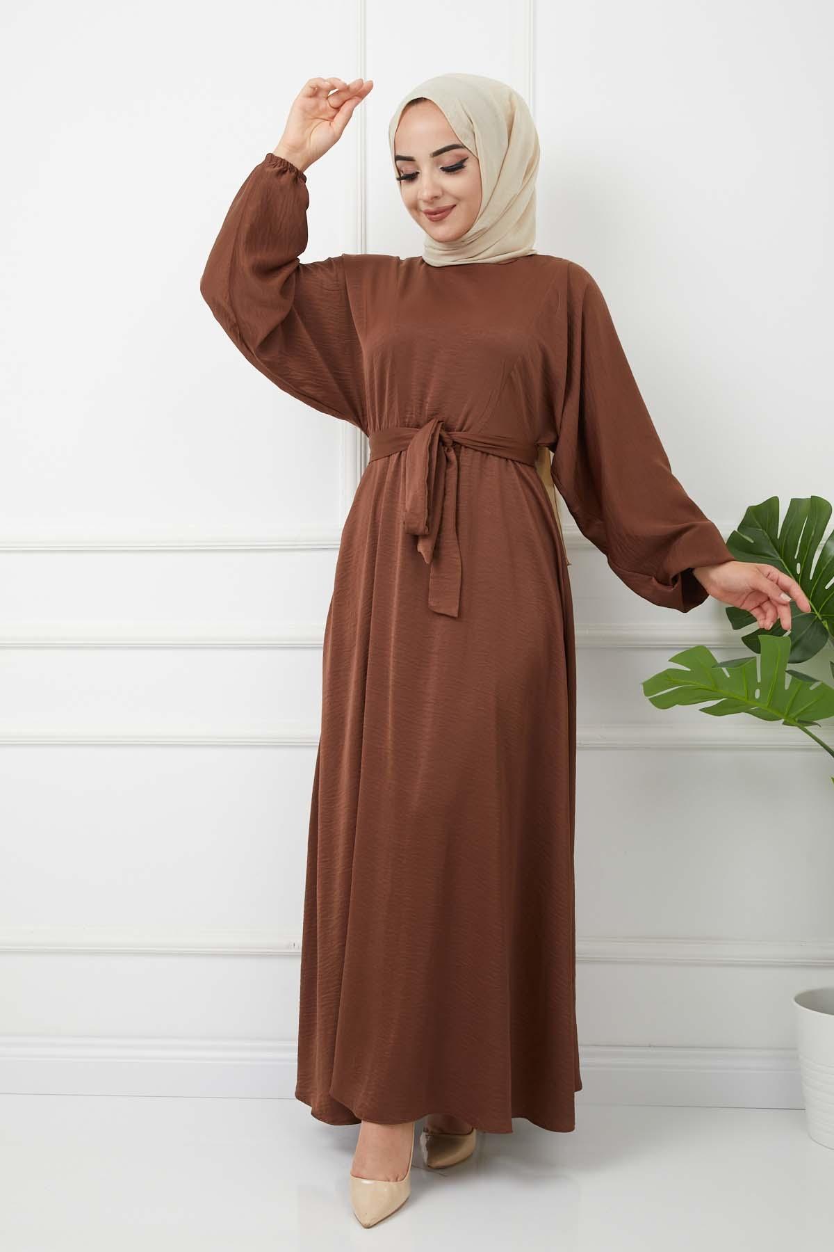 Ayrobin Saten Elbise 4626 - Kahve