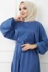 Ayrobin Saten Elbise 4626 - İndigo