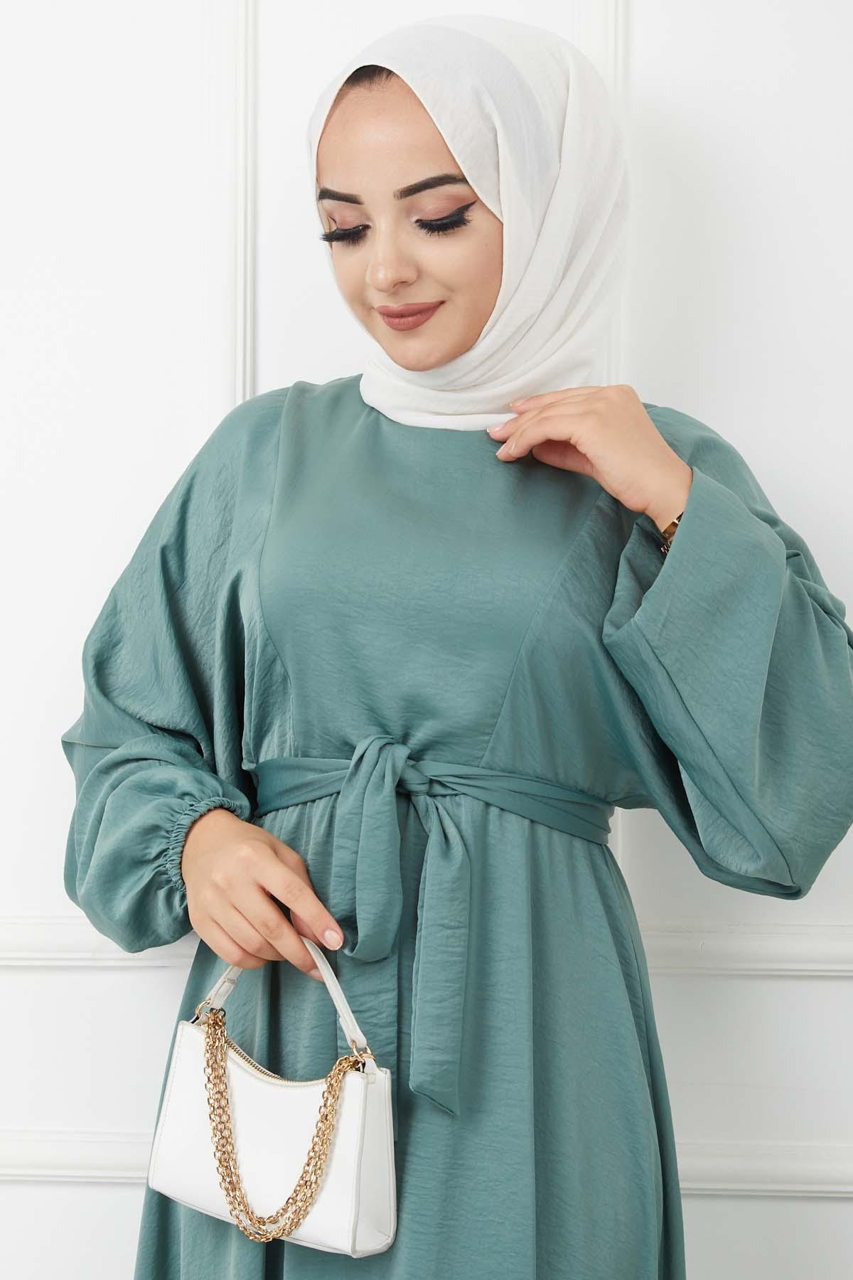 Ayrobin Saten Elbise 4626 - Çağla Yeşili