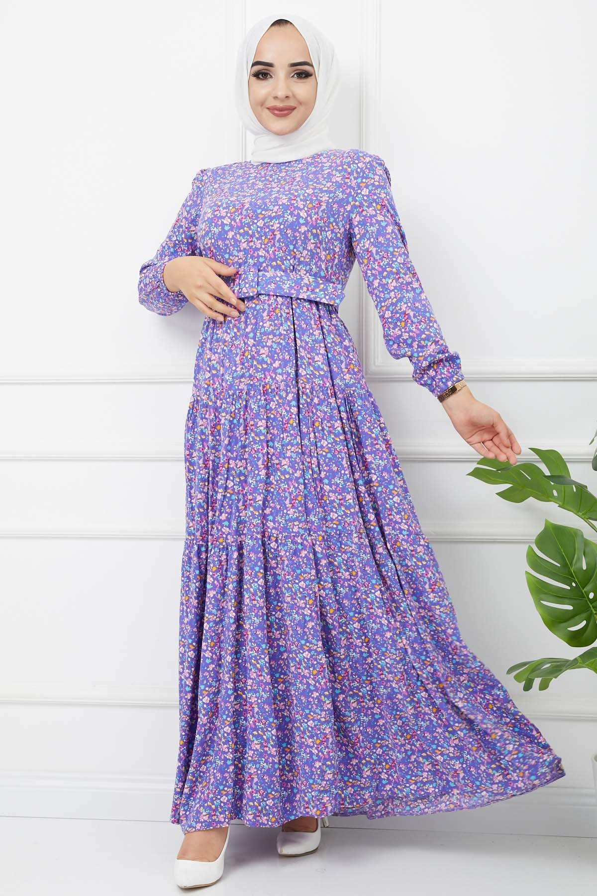 Esra Elbise 4628 - Mor