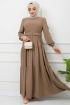 Kemer Detaylı Ponpon İşlemeli Elbise - Sütlü Kahve