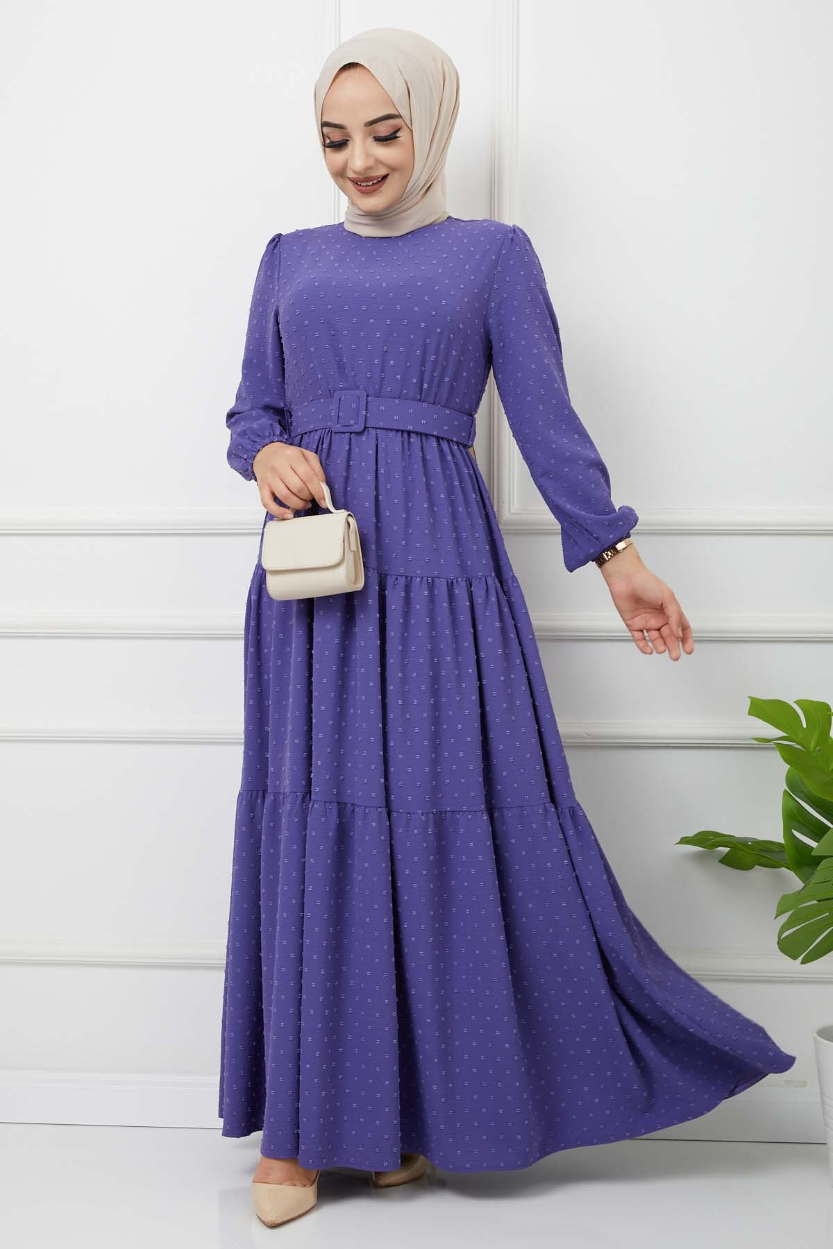 Kemer Detaylı Ponpon İşlemeli Elbise - Lavanta