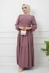 Kemer Detaylı Ponpon İşlemeli Elbise - Gül