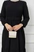 Kemer Detaylı Ponpon İşlemeli Elbise - Siyah
