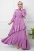 Eylül Saten Elbise 7015 - Lila