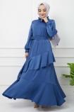 Eylül Saten Elbise 7015 - İndigo