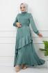Eylül Saten Elbise 7015 - Yeşil