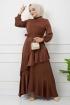 Eylül Saten Elbise 7015 - Kahve