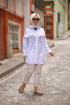 Püskülü Bol Yırtmaçlı Tunik - Beyaz
