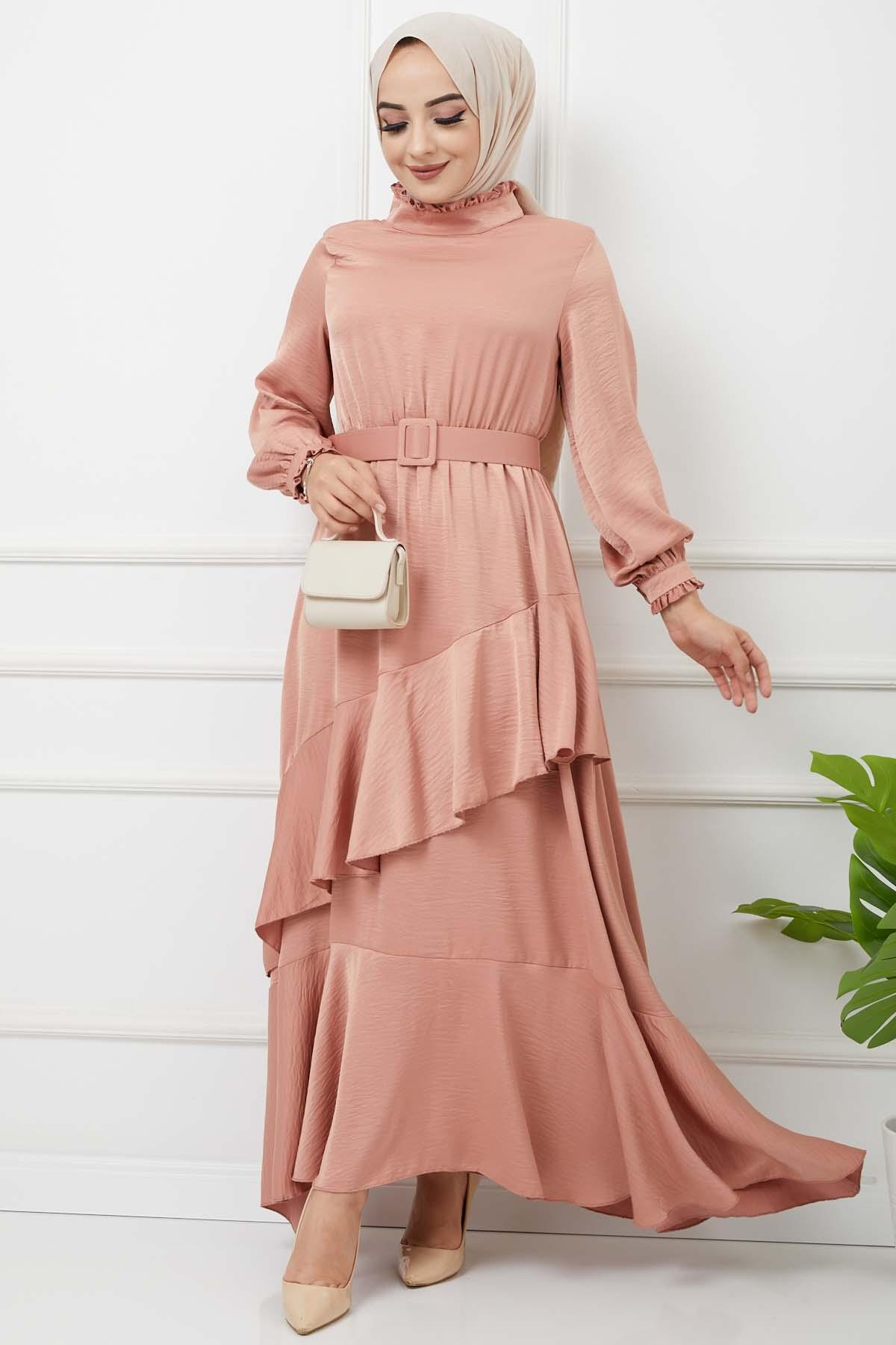 Eylül Saten Elbise 7015 - Yavruağzı