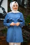Püskülü Bol Yırtmaçlı Tunik - Mavi