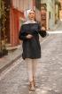 Püskülü Bol Yırtmaçlı Tunik - Siyah